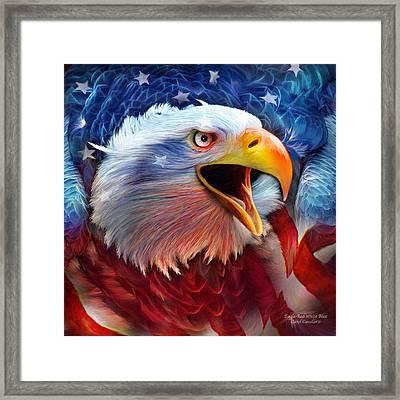 Eagle Red White Blue 2 Framed Print by Carol Cavalaris