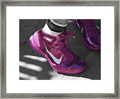 Earl Skakel's Pink High Tops Framed Print by Rebecca Dru