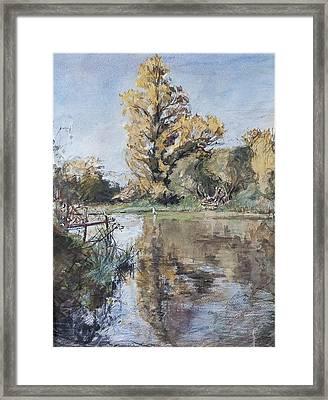 Early Autumn On The River Test Framed Print by Caroline Hervey-Bathurst