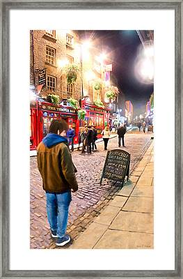 Early Bird Special In Dublin's Temple Bar Framed Print by Mark E Tisdale