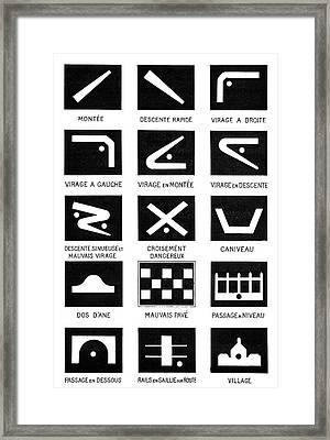 Early Car Road Signs Framed Print by Science Photo Library