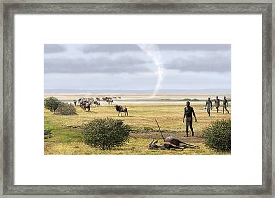 Early Humans Framed Print by Mauricio Anton