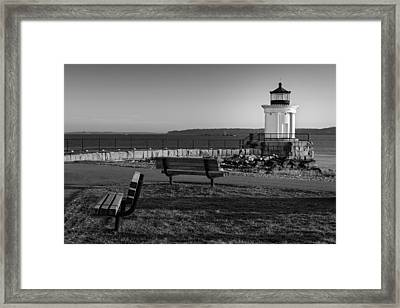 Early Morning At Bug Lighthouse Bw Framed Print by Susan Candelario