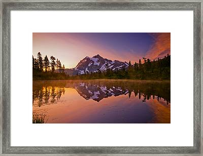 Early Morning At Picture Lake Framed Print by Darren  White