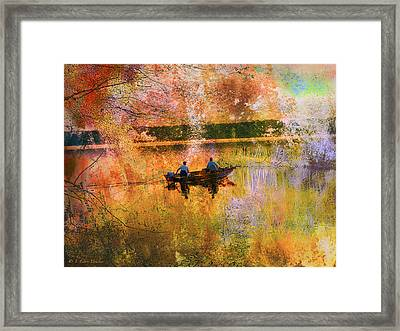 Early Morning Fishermen Looking For That Perfect Spot Framed Print by J Larry Walker