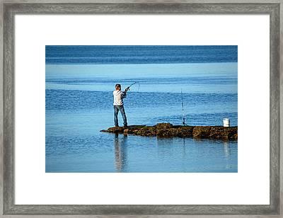 Early Morning Fishing Framed Print by Karol Livote