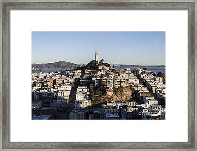 Early Morning Light On Telegraph Hill And Coit Tower Park In San Francisco Framed Print by Trekkerimages Photography