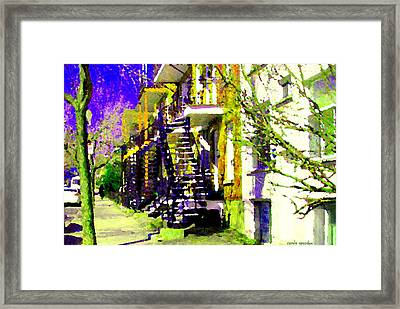Early Spring Stroll City Streets With Spiral Staircases Art Of Montreal Street Scenes Carole Spandau Framed Print by Carole Spandau