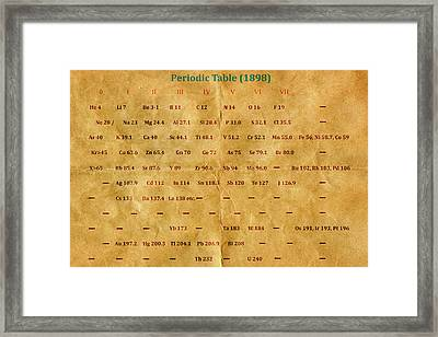 Early Version Of The Periodic Table Framed Print by Carol & Mike Werner