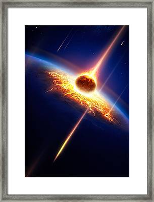 Earth In A  Meteor Shower Framed Print by Johan Swanepoel