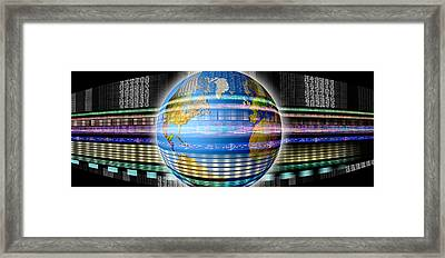 Earth In Digital Steam Framed Print by Panoramic Images