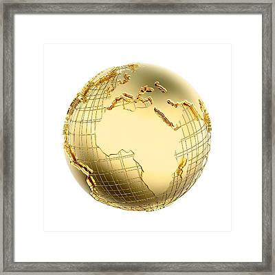 Earth In Gold Metal Isolated - Africa Framed Print by Johan Swanepoel