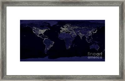 Earth Lights From Space Framed Print by Pg Reproductions