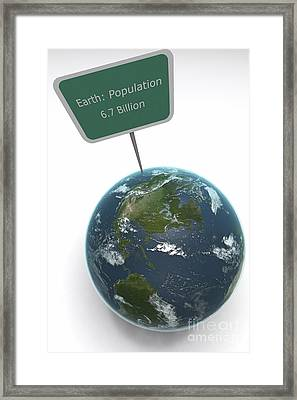 Earth Population Framed Print by Science Picture Co