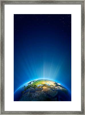 Earth Radiant Light Series - Europe Framed Print by Johan Swanepoel