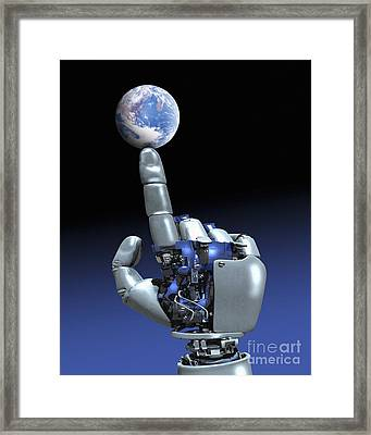 Earth Spinning On Robotic Finger  Framed Print by Victor Habbick Visions SPL