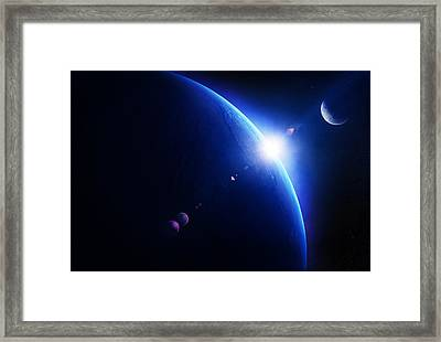 Earth Sunrise With Moon In Space Framed Print by Johan Swanepoel