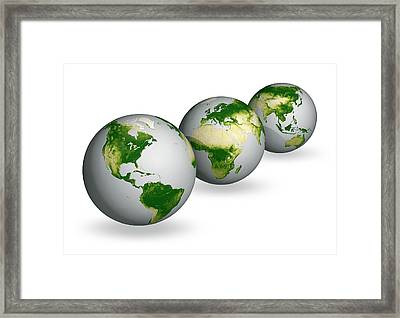 Earth Vegetation Globes Framed Print by Carlos Clarivan