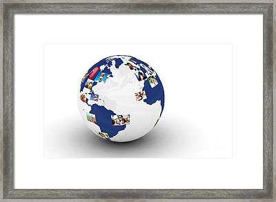 Earth With People Photos In Network Framed Print by Michal Bednarek