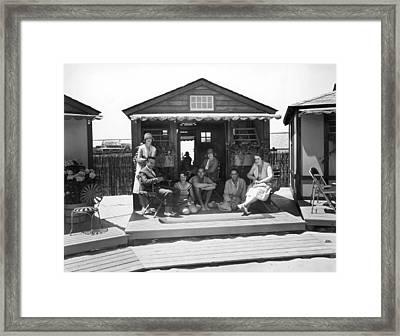 East Coast Seaside Cabana Framed Print by Underwood Archives