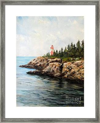 East Quoddy Head Light Framed Print by Lee Piper