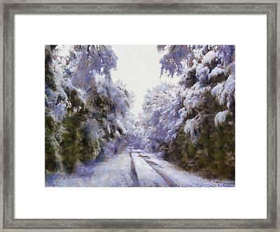 East Texas Snow Day Framed Print by Lorri Crossno