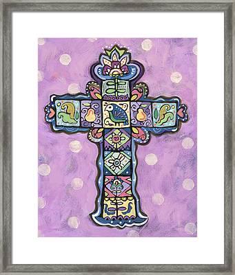 Easter Cross On Orchid Framed Print by Jen Norton