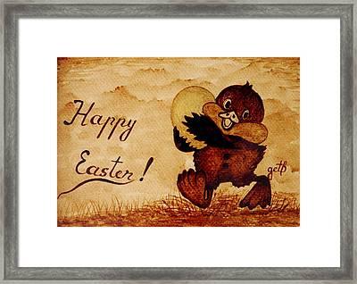 Easter Golden Egg Coffee Painting Framed Print by Georgeta  Blanaru