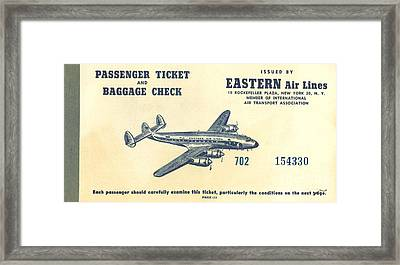Eastern Air Lines Ticket Framed Print by Dale Powell