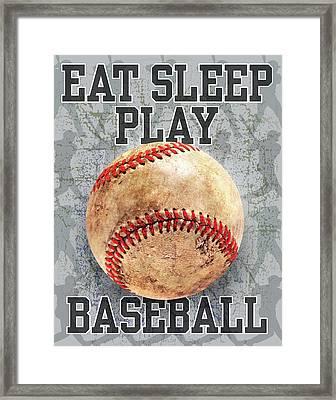 Eat Sleep Play Baseball Framed Print by Jim Baldwin