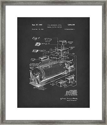 Eckdahl Computer 1960 Patent Art Black Framed Print by Prior Art Design