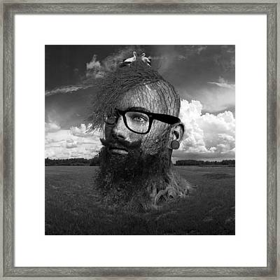 Eco Hipster Black And White Framed Print by Marian Voicu