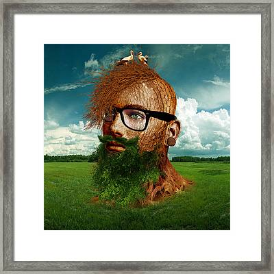 Digital Manipulation Framed Print featuring the digital art Eco Hipster by Marian Voicu