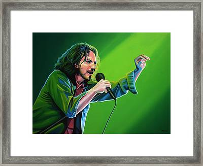 Eddie Vedder Of Pearl Jam Framed Print by Paul Meijering