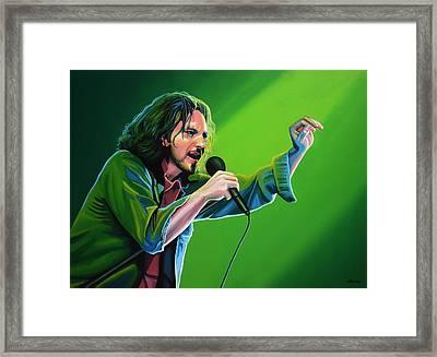 Eddie Vedder Of Pearl Jam Framed Print by Paul Meijering