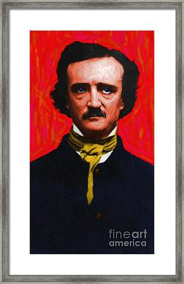 Edgar Allan Poe - Painterly Framed Print by Wingsdomain Art and Photography
