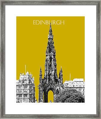 Edinburgh Skyline Scott Monument - Gold Framed Print by DB Artist