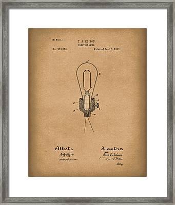 Edison Electric Lamp 1882 Patent Art Brown Framed Print by Prior Art Design