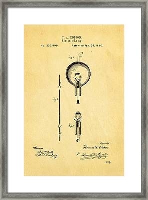 Edison Electric Lamp Patent Art 1880 Framed Print by Ian Monk