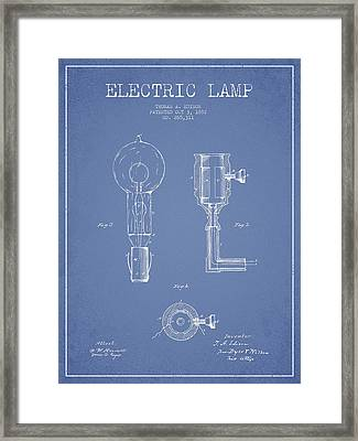 Edison Electric Lamp Patent From 1882 - Light Blue Framed Print by Aged Pixel