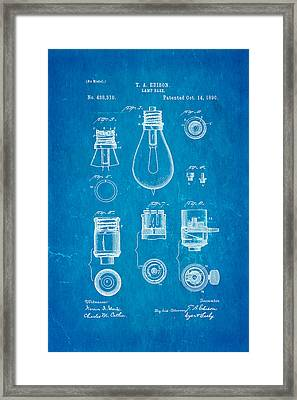 Edison Lamp Base Patent Art 1890 Blueprint Framed Print by Ian Monk