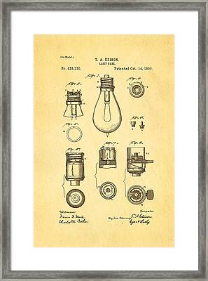 Edison Lamp Base Patent Art 1890 Framed Print by Ian Monk