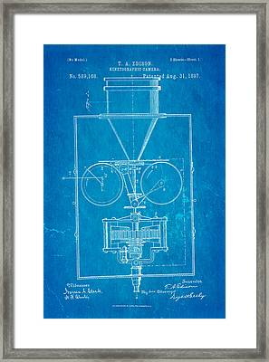 Edison Motion Picture Camera Patent Art 1897 Blueprint Framed Print by Ian Monk