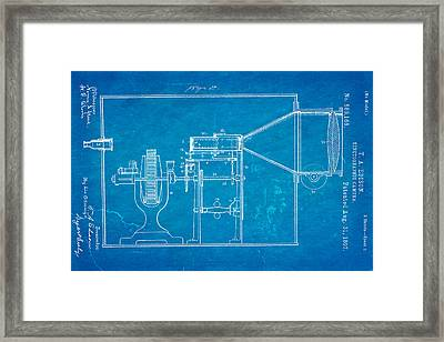 Edison Motion Picture Camera Patent Art 2 1897 Blueprint Framed Print by Ian Monk