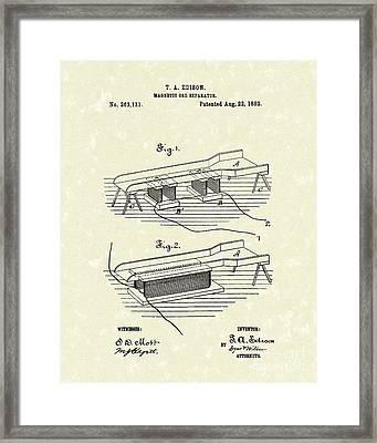 Edison Ore Separator 1882 Patent Art Framed Print by Prior Art Design