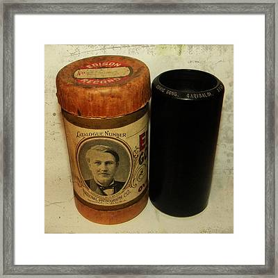 Edison Phonograph Cylinder 9750 Comic Song  Garibaldi  Framed Print by Bill Cannon