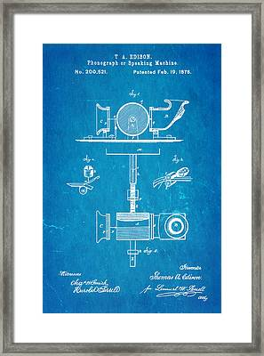 Edison Phonograph Patent Art 1878 Blueprint Framed Print by Ian Monk