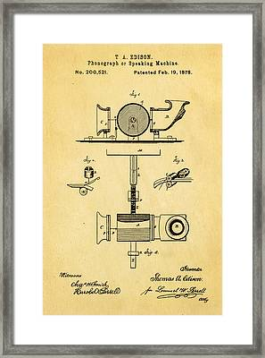 Edison Phonograph Patent Art 1878 Framed Print by Ian Monk
