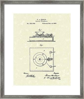 Edison Telephone 1879 Patent Art Framed Print by Prior Art Design