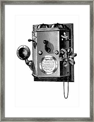 Edison Telephone In A Wall-mounted Box Framed Print by Universal History Archive/uig